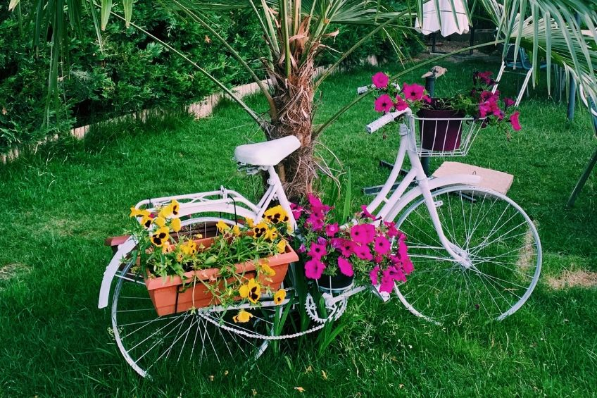 Upcycled bike planter